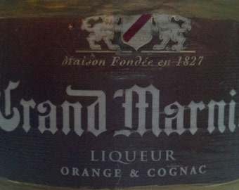 Grand Marnier Glass Bottle Candle made from recycled/upcycled liquor bottle /Man cave bar decor