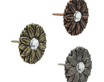 """Crystal Flower Upholstery Tacks 1"""" Leather Tacks 10 Pack Upholstery Nails #115-"""