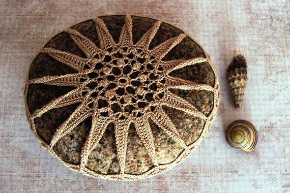 RESERVED Wedding, Crocheted Lace Stone, Ecru Cotton Thread, Rustic Cobblestone, Handmade, Tiny Stitches, Unique Gift