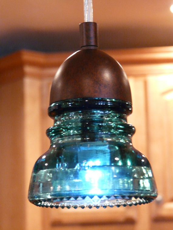 Items similar to glass insulator pendant light vintage on etsy for Insulator pendant light
