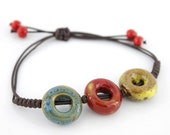 Special Fancy Bohemia Style Colorful Ceramic Donut Beads Cord Bracelet
