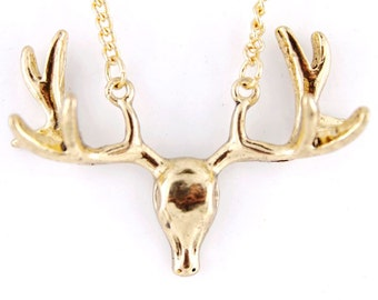 Simple Gold-tone Deer Head Pendant Necklace