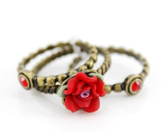 Special Cool Gold-tone Red Rose/Flower  Ring Set,Size 8.   A4
