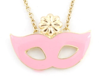 Beautiful Cute Gold-tone Pink  Party Eye Mask/Flower Pendant Funky Statement Necklace B3