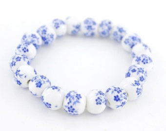 Special Elegant  Blue and White Porcelain Beads Elastic Bracelet