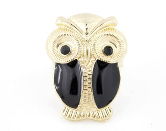 Vintage Gold-tone Cute Owl Ring,adjustable