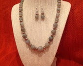 Handmade necklace and earring set, labradorite gemstone with silver beads