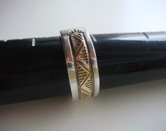 Silver and 14k Yellow Gold Ring