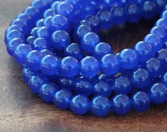 Dyed Jade Beads, Royal Blue Semi-Transparent, 6mm Round - 15 Inch Strand - eSJR-B10-6