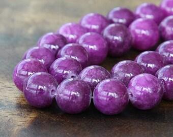 Mountain Jade Beads, Grape Purple, 10mm Round - 15 Inch Strand - eMJR-M11-10