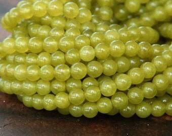 Dyed Jade Beads, Mustard Semi-Transparent, 4mm Round - 16 Inch Strand - eSJR-Y15-4
