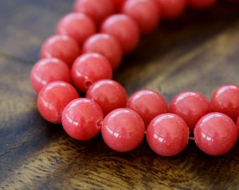 Mountain Jade Beads, Berry Red, 6mm Round - 15.5 Inch Strand - eMJR-P16-6