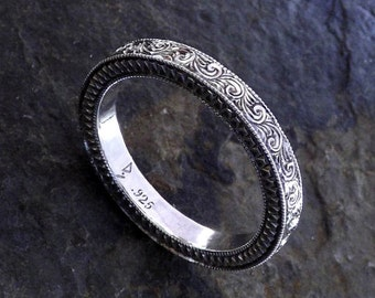 Silver Hand Engraved Sterling Silver Ring