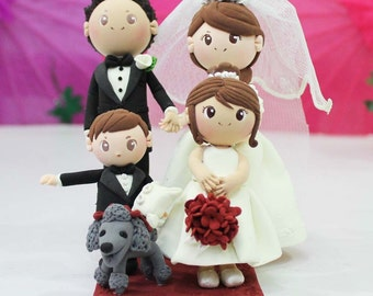 Wedding Cake topper Beautiful wedding clay couple with flower girl clay miniature and ring bearer boy clay miniatures, Engagement clay doll