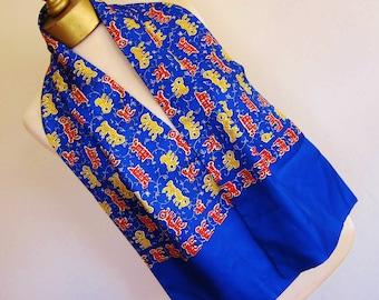 MENS  silk scarf  Royal Blue BRIGHT  vivid 80s