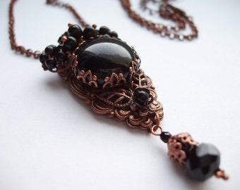 Black Necklace Pendant. Steampunk Black Rhinestone Jewelry. Copper Jewelry. Vintage Style Victorian Necklace. Romantic Jewelry. Goth Jewelry