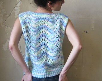 Vintage Knit Top/ sleeveless/ 80s/ light blue// sm.med