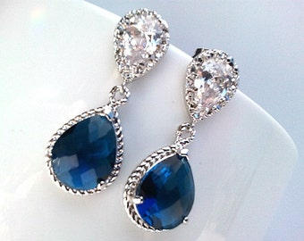 Sapphire Navy Earrings, Blue Wedding Earrings, Navy post earrings, Drop, Dangle Earrings, Navy Wedding Bridal Bridesmaid Jewelry  Gift