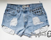High Waisted Vintage Levis Shorts Studded Denim Cutoffs Light Blue