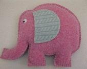 Felted Elephant Animal Pillow