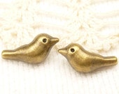 Simple Sparrow Bird Metal Spacer Bead (10) - BF33