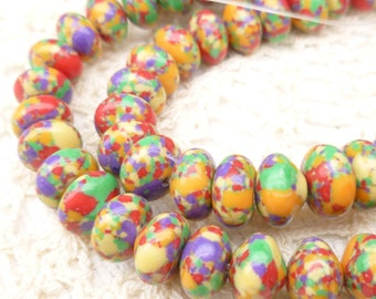 Rondelle Confetti Howlite beads, 4x6mm, (20)