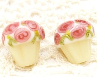 Pink Flower Frosted Cupcake Lampwork Glass Beads (2)