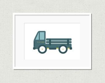 Modern truck print, colorful nursery art, modern nursery art, kids room decor, nursery decor, truck print, blue truck, toy truck