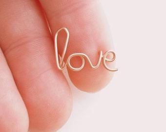 LOVE Earring, ROSE Gold 14 k filled. LOVE Handwritten Single Stud Earring. Cartilage. Pierced ear cuff. Hypoallergenic.