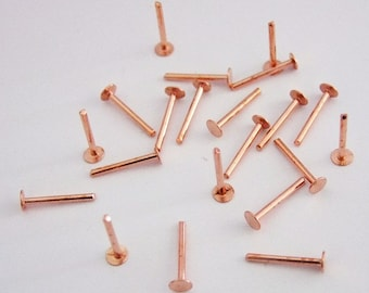 """Copper Solid Rivets 1.3mm Wide x 1/2"""" Long Package Of 100"""