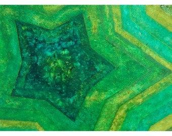 "P41 - ""Shades of Green"" Geometric Fine Art Postcard"