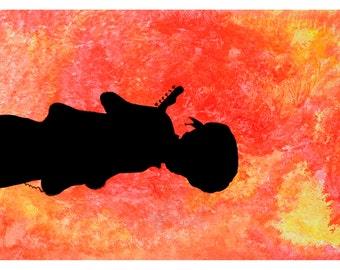 P8 - Jimi Hendrix Postcard, Guitar Rock n Roll Music Art