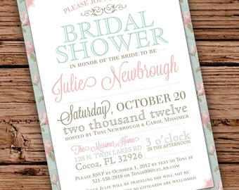 Custom Vintage Floral Bridal Shower Invitation (Can be made into a Baby Shower Invitation)