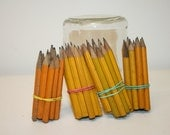 59 yellow pencils, teacher supplies, daycare pencil set, vintage wooden miniature pencils, office, craft supplies pencil mini, glass jar