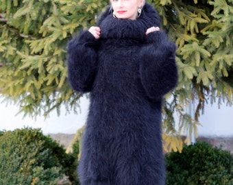 Extra fuzzy black hand knitted mohair sweater