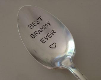 Best Grammy Ever    vintage silverware hand stamped spoon