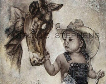 Cowboy art, In The Beginning, print of a little boy and his new colt, little cowboy and baby horse, western art, cowboy artwork