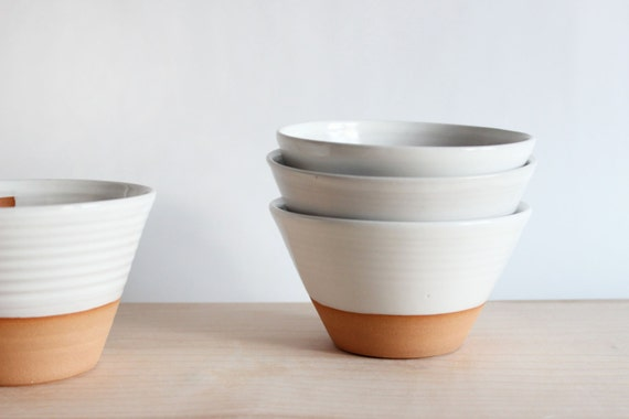Pottery bowl, four white ceramic bowls with angled sides, soup, ice cream, appetizer bowl, handmade modern pottery