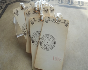 Wedding wish tree tags, hand stamped vintage clock with romantic flourish, 'Love' stamped in soft pink, alternative guest book, set of 10.
