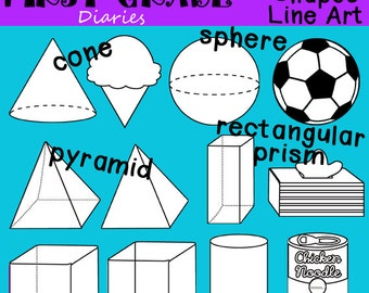 3D Shapes Digital Line Art Cube Sphere Pyramid Cone -- Buy 2 GET 1 FREE