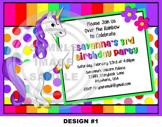 Unicorn Invitation Rainbow Pony