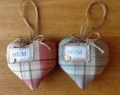 Tartan Personalised Decorative Lovehearts.