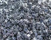 Antique Silver Alphabet Beads- letter A- set of 50