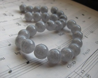 Grey Glass Beads- 8mm round- set of 25