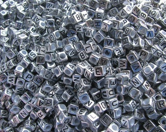 Antique Silver Alphabet Beads- letter A- set of 50