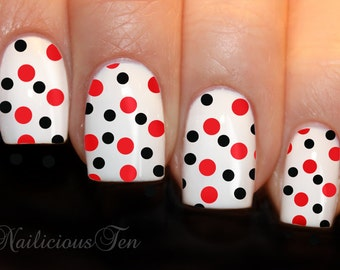 Polka Dots Nail Art Wrap Water Transfer Decal Black & Red 12pcs