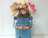 VINTAGE BLUE BUCKET - Chippy Rustic Cottage Chic - Graniteware - Agateware - Enamel