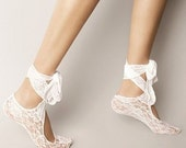 Bridal wedding dance shoes slippers ,White Bridal Party Bridesmaid,Lace Socks.