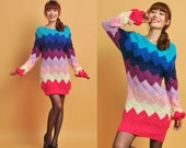 handmade sweater dress -----8 colors rainbow sweater.