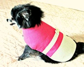 Polka Dotted Small Dog's Dress Custom Order Clothing  - White, Kelly Green & Hot Pink Cotton Bichon